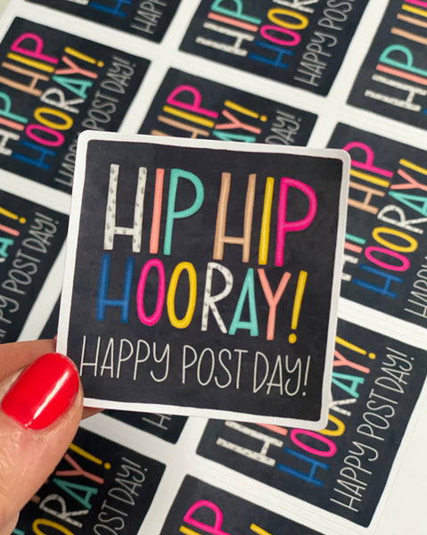 Sheet of Hip Hip Hooray Happy Post Postage Stickers