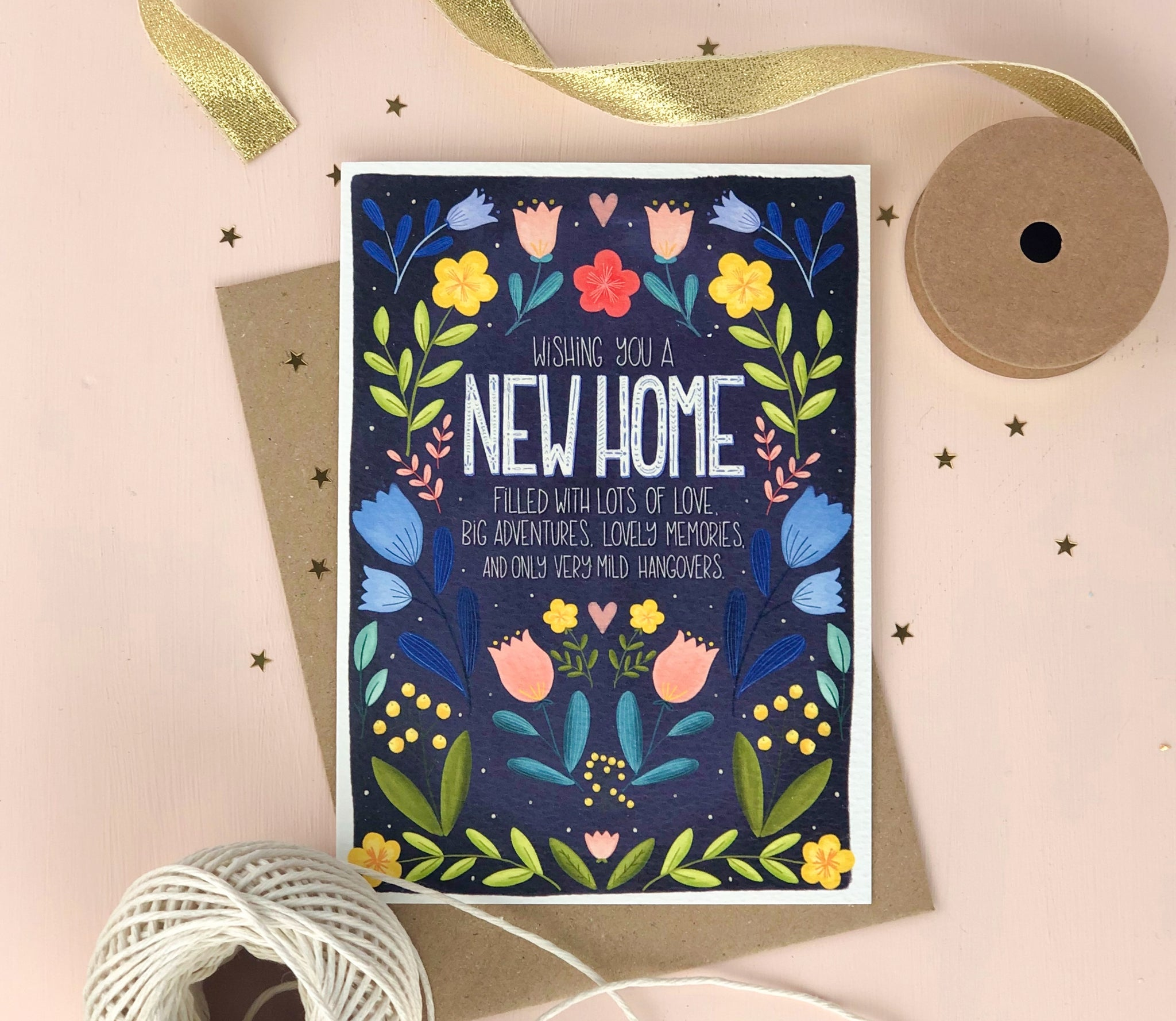 New Home Mile Hangovers Funny Folk Art New Home Card