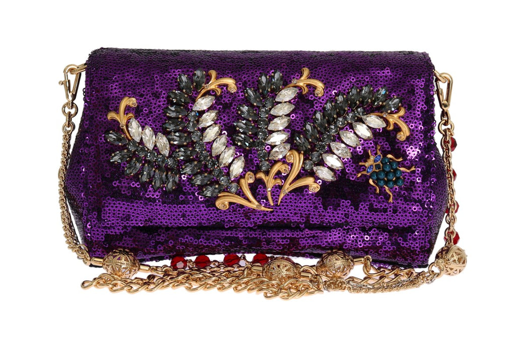 Dolce & Gabbana Purple Sequined Crystal Clutch Bag