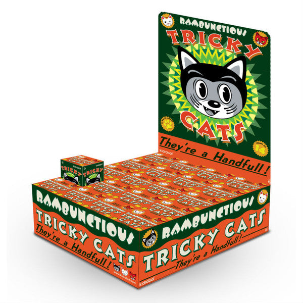 "OPEN BOX Kidrobot Rambunctious Tricky Cats : 3"" Unlucky Tricky mini figure 1/40 (complete with all original packaging) + FREE POSTAGE - dinkybox"