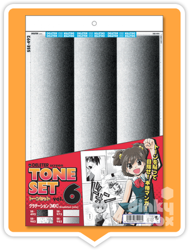 Deleter Tone Set Vol. 6 : Four (full sized) graduated sheets of screentone (SSE-492, SE-973, SE-982 & SE-985) + FREE POSTAGE - moosedinky