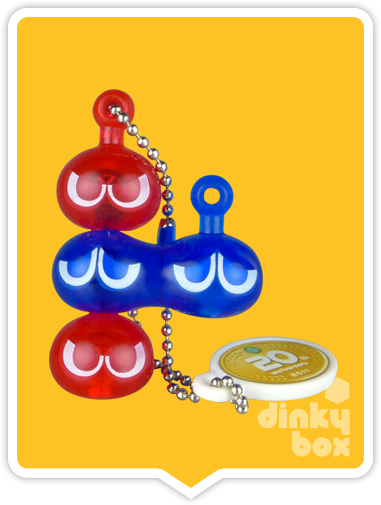 "OPEN GASHAPON BALL Takara Tomy A.R.T.S / Sega 20th Anniversary Puyo Puyo : 1"" Quadruple (Red/Blue) Mascot Charm - moosedinky"