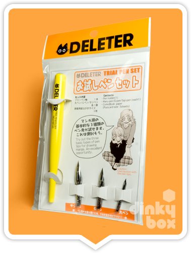 Deleter Trial Pen Set : Interchangeable (Free Style) 12.5cm nib holder, 3 different Deleter nibs + 1x plain postcard - moosedinky