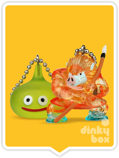 "OPEN BOX Square-Enix Dragon Quest Crystral Monsters 10 : 1"" Orange Orc & Slime Mascot Charm (complete with all original packaging) - moosedinky"