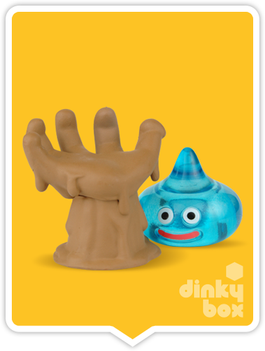 "OPEN BOX Square-Enix Dragon Quest Stacking Slime : 1"" Brown Hand & Blue Silme Mascot Charm (complete with all original packaging) - moosedinky"