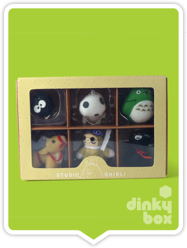 "WINDOW BOXED Sun Arrow x Studio Ghibli Gift Set : Six (6) individual 1.5"" Studio Ghibli keychain/charm collection, gift box B (including My Neighbour Totoro, Porco Rosso, Kiki's Delivery Service and Princess Mononoke) + FREE POSTAGE - moosedinky"