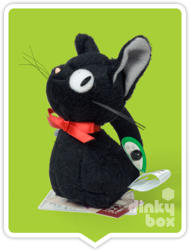 "LOOSE PLUSH Sun Arrow x Studio Ghibli : 'Purring' 4"" Studio Ghibli Kiki's Delivery Service JiJi, plush (mechanical) mini figure - moosedinky"