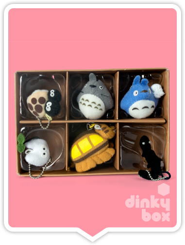 "WINDOW BOXED Sun Arrow x Studio Ghibli Gift Set : Six (6) individual 1.5"" Studio Ghibli keychain/charm collection, gift box A (featuring My Neighbour Totoro characters) + FREE POSTAGE - moosedinky"