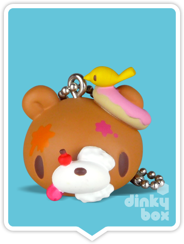 "OPEN GASHAPON BALL Bandai (Japan) 2"" Sweets Gloomy & Hanyo Usagi : Gloomy brown bear head keychain/charm (complete with all original packaging) - moosedinky"