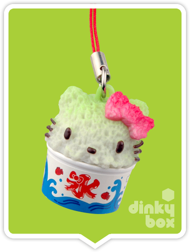 "OPEN PACKAGE Re-ment Hello Kitty Collectable Festival Charms : 1"" Kitty Shaved Ice Effect Charm (complete with all original packaging minus the candy) 15yrs+ - moosedinky"