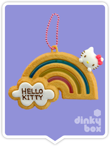 "OPEN BOX Re-ment Hello Kitty Collectable Cookie Mascot : 2"" Rainbow Charm (complete with all original packaging minus the candy) 15yrs+ - moosedinky"