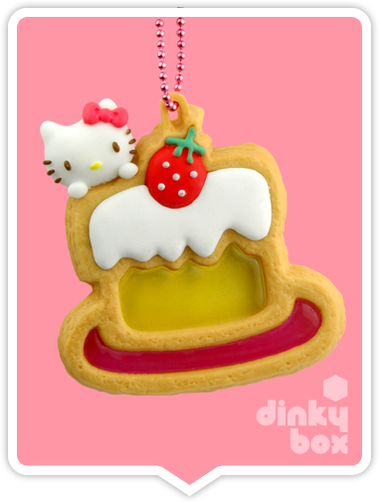 "OPEN BOX Re-ment Hello Kitty Collectable Cookie Mascot : 2"" Iced Birthday Cake Charm (complete with all original packaging minus the candy) 15yrs+ - moosedinky"