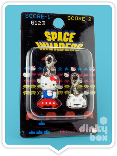 "BLISTER CARDED Hello Kitty x Taito Space Invaders : 1"" Charm Duo (Japanese packaging with Japanese text) - dinkybox"