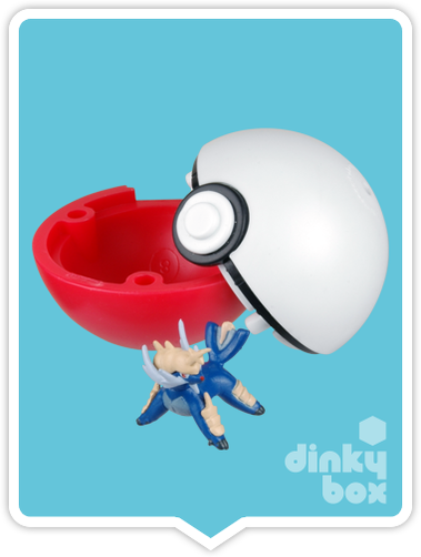 "OPEN BOX HPKM Collectors Japanese Pokémon Keshipoke : 1"" Samurott Collectable Mini Figure + 4"" Eraser Ball 15yrs+ - moosedinky"