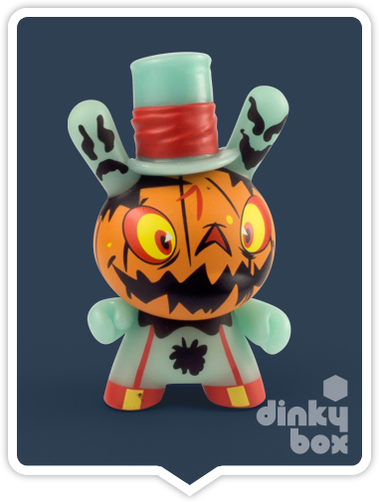 "OPEN BOX Kidrobot Brad Peters Dunny GID The 13 : 3"" (07) Jack O' Lantern mini figure 1/20 (complete with all original packaging) + FREE POSTAGE - moosedinky"