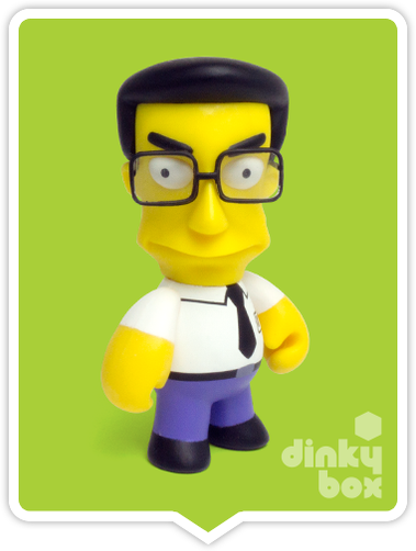 "OPEN BOX Kidrobot The Simpsons Woo Hoo! 25th Anniversary : 3"" Frank Grimes mini figure 1/40 (complete with all original packaging) - moosedinky"