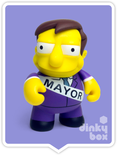 "OPEN BOX Kidrobot The Simpsons Woo Hoo! 25th Anniversary : 3"" Mayor Quimby mini figure 1/40 (complete with all original packaging) - moosedinky"