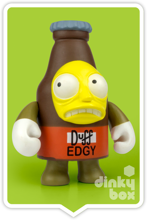 "OPEN BOX Kidrobot The Simpsons Woo Hoo! 25th Anniversary : 3"" Duff Beer 'Edgy' CHASE mini figure 1/80 (complete with all original packaging) - moosedinky"