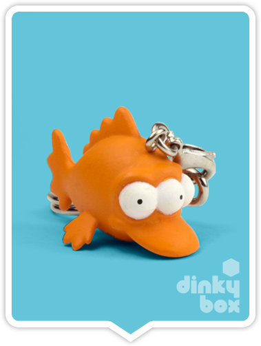 "OPEN BOX Kidrobot The Simpsons Woo Hoo! 25th Anniversary : 1"" Blinky Fish keychain (complete with all original packaging) - moosedinky"