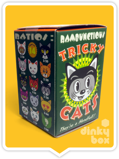 "OPEN BOX Kidrobot Rambunctious Tricky Cats : 3"" Greedy Tricky mini figure 2/20 (complete with all original packaging) - moosedinky"