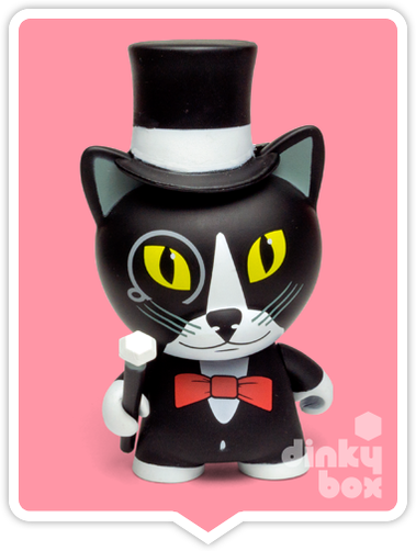 "OPEN BOX Kidrobot Rambunctious Tricky Cats : 3"" Tuxedo Tricky mini figure 3/20 (complete with all original packaging) - dinkybox"