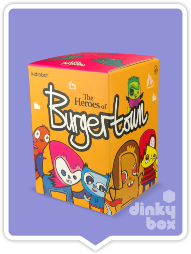 Kidrobot x Jon Burgerman Heroes of Burgertown Blind Boxes available to buy via dinkybox UK