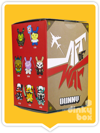 "OPEN BOX Kidrobot Patricio Oliver Art of War Dunny : 3"" Yellow Warrior mini figure 1/20 (complete with all original packaging) - moosedinky"
