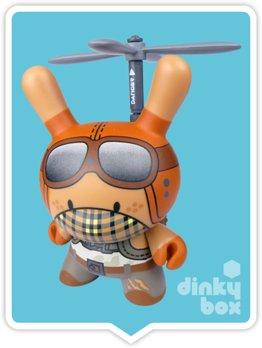 "OPEN BOX Kidrobot Huck Gee Post Apocalypse Dunny : 3"" Copter Boy mini figure 3/32 (complete with all original packaging) - moosedinky"