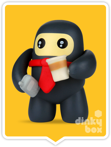 "OPEN BOX Kidrobot Shawnimals Ninjatown : 2"" Business Ninja mini figure 2/25 (complete with all original packaging) - moosedinky"