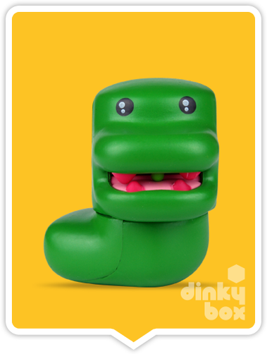 "OPEN BOX Kidrobot Shawnimals Ninjatown : 2"" Feroshi the Dino Slug mini figure 1/25 (complete with all original packaging) - moosedinky"