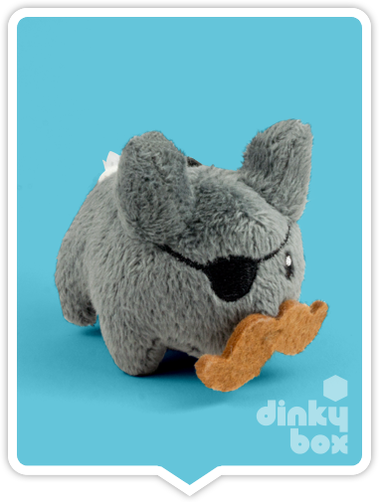 "WINDOW BOXED : Kidrobot x Frank Kozik  3"" Grey Crazy Labbit Plush - moosedinky"