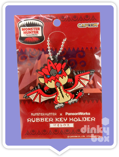 "CARDED Capcom x PansonWorks Monster Hunter : 4"" Rathalos Rubber Key Holder - moosedinky"