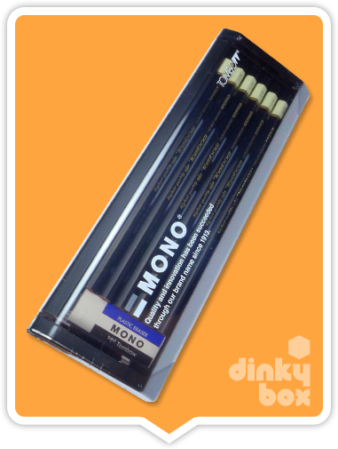 Tombow Graphite Pencils : 12x (yes, twelve) high quality non-braking 2B pencils and a Mono Eraser all in a lovely presentation case + FREE POSTAGE - dinkybox