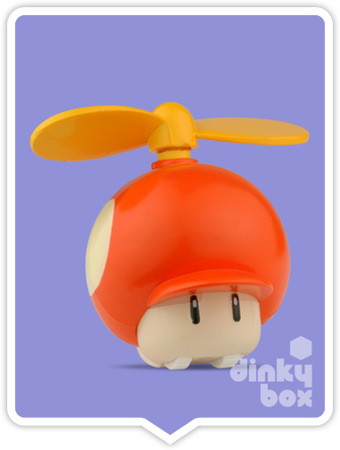 "OPEN GASHAPON BALL Nintendo Super Mario : 2"" Helicopter Mushroom Back & Go Mini Figure (Battery Operated) - moosedinky"
