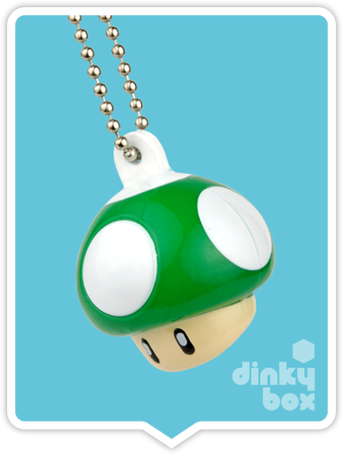"OPEN GASHAPON BALL Nintendo / Bandai Super Mario Bros. Light-Up : 2"" 1-Up Mushroom Keychain Charm (Battery Operated) - moosedinky"