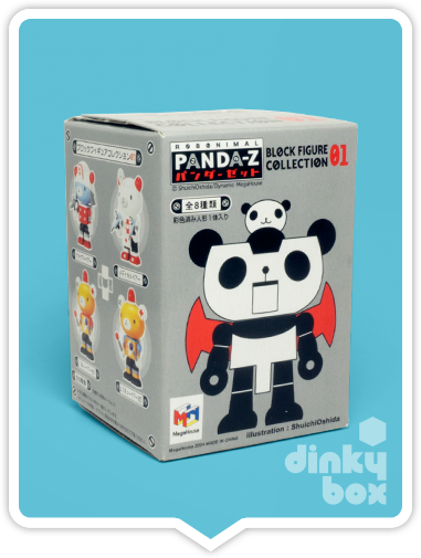 "OPEN BOX Megahouse Panda-Z Block Figure Collection : 3"" (01) Panda-Z mini figure (complete with all original packaging) - moosedinky"