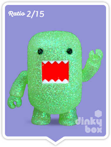 "OPEN BOX Toy2R Domo S4 Qee : 2"" Glittery Green mini figure 2/15 (complete with all original packaging) - moosedinky"