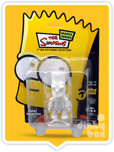 "CARDED Toy2R The Simpsons Mania Series DIY Qee : 3"" Bart Simpson mini figure (complete with all original packaging) - moosedinky"