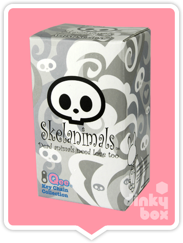 "OPEN BOX Toy2R Skelanimal Artist S2 Qee : 2.5"" Black Kit mini figure (complete with all original packaging) - moosedinky"