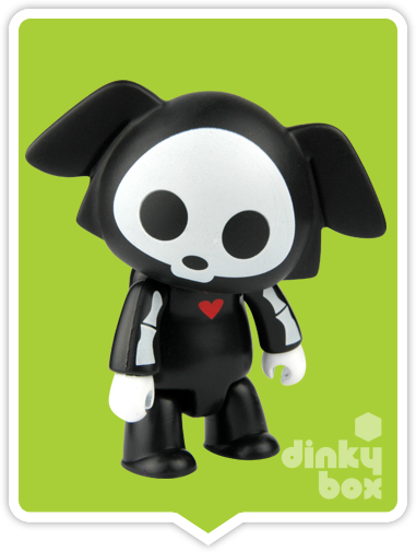 "OPEN BOX Toy2R Skelanimal Artist S2 Qee : 2.5"" Black Dax mini figure (complete with all original packaging) - moosedinky"