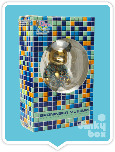 "WINDOW BOXED Toy2R Special Edition Qee : 2.5"" Groninger Museum NL Turquoise Bear mini figure which also doubles up as cute keychain - moosedinky"