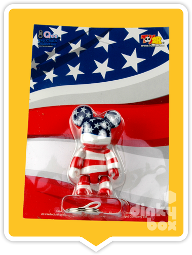 "CARDED Toy2R Special Edition Qee : 2.5"" USA Flag Bear mini figure which also doubles up as cute keychain - moosedinky"
