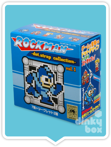 "OPEN BOX Capcom x Union Creative International Rockman / Mega Man Dot. Strap Vol.1 : 3"" Rubber Running Rockman Mascot (complete with all original packaging) - moosedinky"
