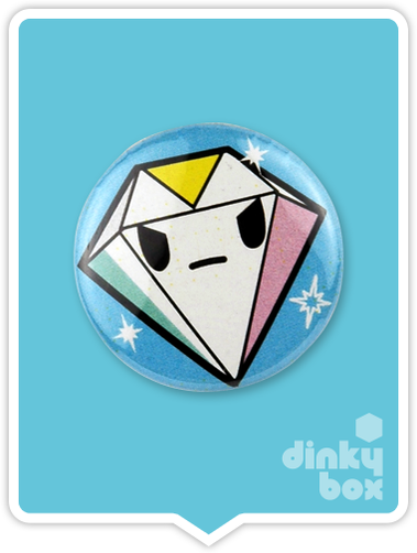 "LOOSE Badge Bomb Tokidoki Pin (Button Badge) : 1"" Diamond 1561 (includes sharp metal pin for attaching to clothes) 15yrs + - dinkybox"