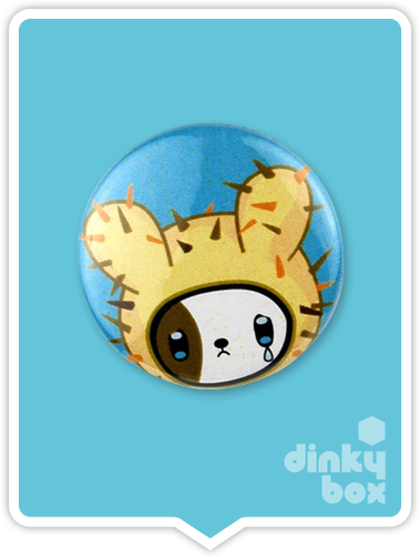 "LOOSE Badge Bomb Tokidoki Pin (Button Badge) : 1"" Cactus Pup 1568 (includes sharp metal pin for attaching to clothes) 15yrs + - dinkybox"