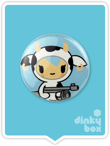 "LOOSE Badge Bomb Tokidoki Pin (Button Badge) : 1"" Moofia Mozarella 1563 (includes sharp metal pin for attaching to clothes) 15yrs + - moosedinky"