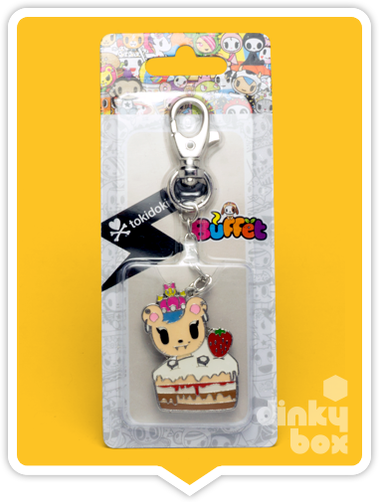 "CARDED Tokidoki Buffet Keychain : 2"" Royal Pride Savannah Strawberry Cake - moosedinky"