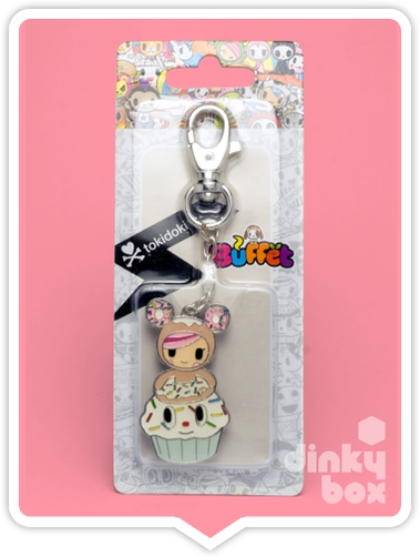 "CARDED Tokidoki Buffet Keychain : 2"" Dontella & Her Sweet Friends Donutella Cupcake - moosedinky"