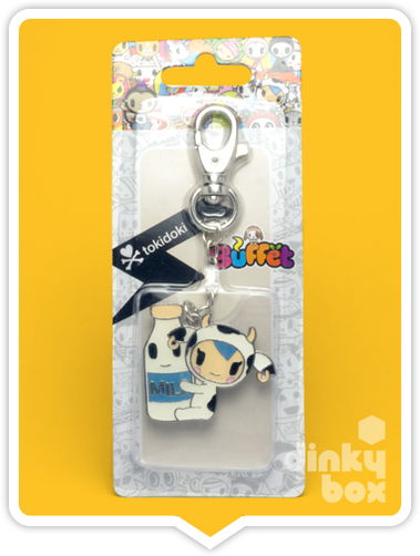 "CARDED Tokidoki Buffet Keychain : 2"" Cactus Friends Moofia Mozzarella Milk - moosedinky"