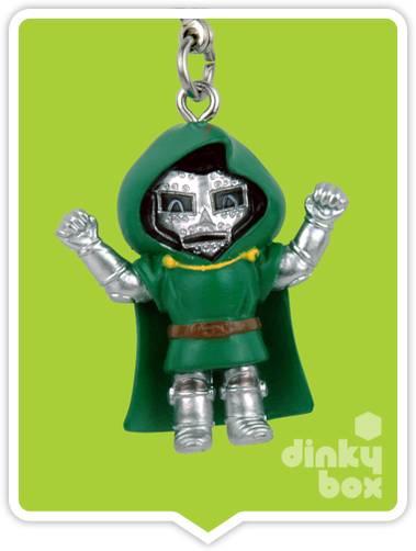 "OPEN BOX Tokidoki Marvel Frenzies : 1"" Dr. Doom charm (complete with all original packaging) - moosedinky"